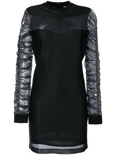 платье мини с присборенными рукавами  Versus