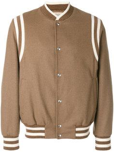 куртка-бомбер  с полосатой окантовкой Maison Flaneur