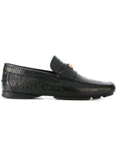 crocodile effect signature loafers Versace