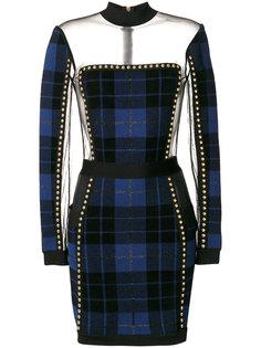 клетчатое платье с прозрачной панелью Balmain