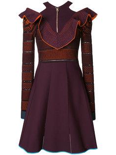 трикотажное платье с V-образной оборкой  Versace