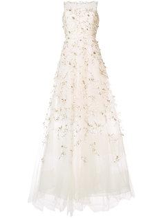 расклешенное вечернее платье с вышивкой Oscar de la Renta