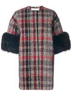 пальто с рукавами три четверти и принтом тартан  Ava Adore