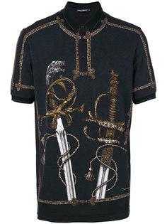 рубашка-поло с принтом мечей Dolce & Gabbana