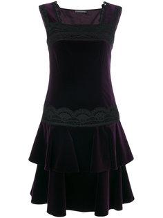 платье с оборкой и кружевной вставкой  Alberta Ferretti