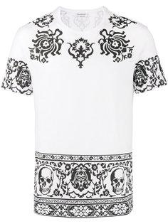 футболка с узором и черепами Alexander McQueen