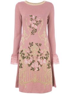 платье-свитер с цветочной вышивкой и кружевом  Alberta Ferretti