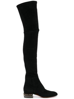 сапоги-ботфорты с заклепками на каблуках Santoni