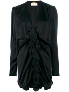 платье миди с оборкой  Saint Laurent