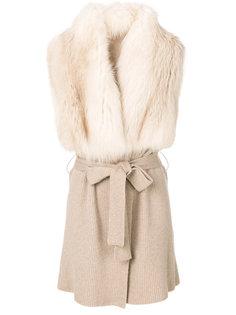 пальто с поясом и отделкой из меха норки  Liska