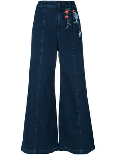 джинсы клеш с вышивкой Vivetta
