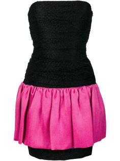 платье дизайна колор-блок без бретелек Yves Saint Laurent Vintage