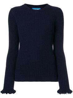 свитер в рубчик с оборками на рукавах  Mih Jeans