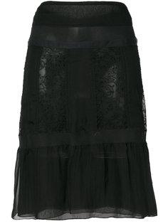 расклешенная юбка с кружевом Prada Vintage