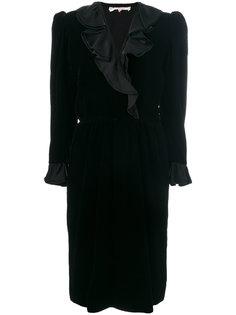 платье с длинными рукавами и оборками Yves Saint Laurent Vintage