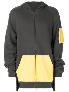 colour block hooded jacket Moohong