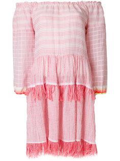 платье с открытыми плечами и кисточками  Lemlem