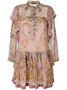 платье с принтом и завязкой  Alberta Ferretti