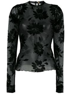 прозрачная блузка с цветочным кружевом Romeo Gigli Vintage