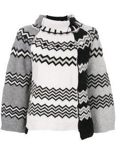 свитер с отворотом и узором зигзаг  Nude