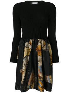платье в рубчик с платочным принтом  Moschino