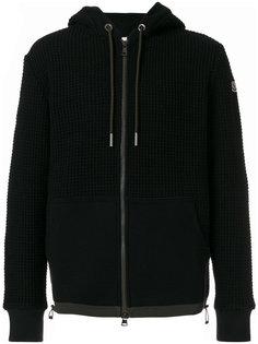 waffle knit zipped hoodie Moncler
