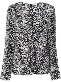 присборенная блузка с леопардовым принтом  Saint Laurent