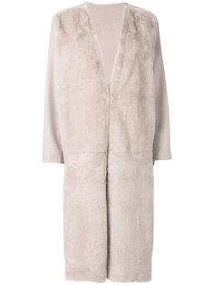 пальто с меховыми панелями Liska