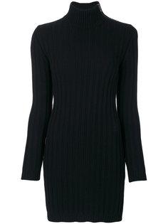 платье в рубчик с высоким воротом  Moschino