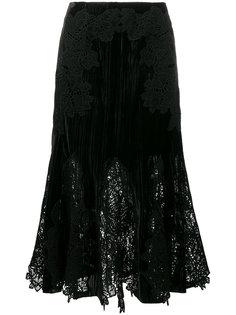 бархатная кружевная юбка с вышивкой Jonathan Simkhai