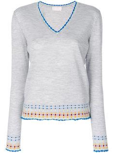 свитер с Vобразным вырезом и вышивкой  Peter Pilotto