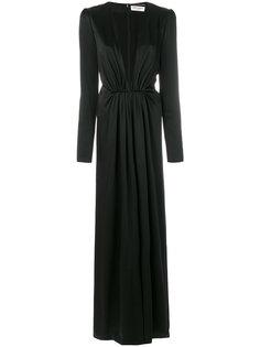 вечернее платье с глубоким V-образным вырезом Saint Laurent