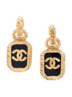 серьги с логотипом Chanel Vintage