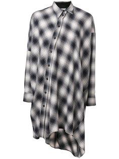 клетчатая рубашка с асимметричным подолом Mm6 Maison Margiela