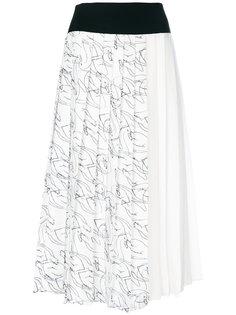 плиссированная юбка с принтом лебедей Victoria Victoria Beckham