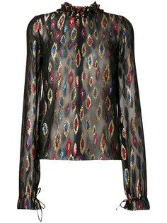 блузка с металлическим отблеском Saint Laurent