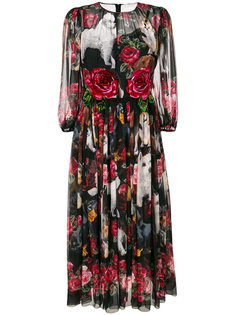 шифоновое платье с принтом  Dolce & Gabbana