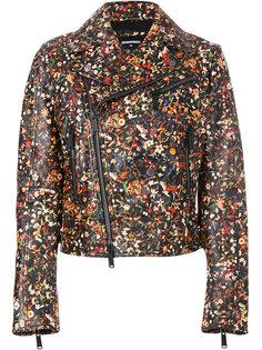 байкерская куртка с цветочным принтом  Dsquared2