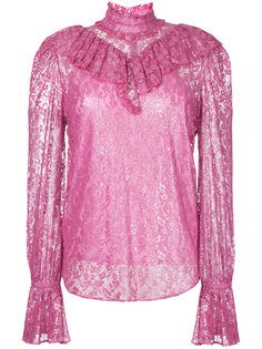 foiled lace ruffle high neck blouse G.V.G.V.