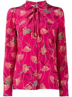 блузка с воротником-стойкой с бантом и цветочным принтом Valentino