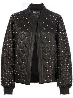 стеганая куртка-бомбер с заклепками Balmain