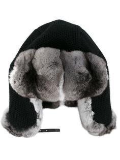 шапка-ушанка с оторочкой мехом шиншиллы Inverni