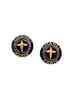круглые серьги с логотипом Chanel Vintage