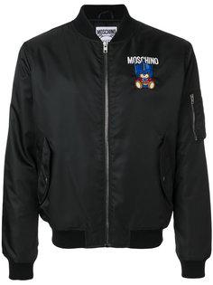 куртка-бомбер с вышивкой медведя Moschino