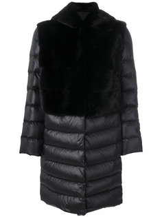 дутое пальто с капюшоном  Liska