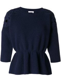 свитер с кружевной оторочкой Chloé