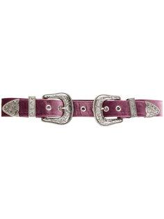 ремень с двумя пряжками и заклепками B-Low The Belt