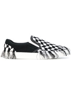 fringed checkered slip on sneakers Doublet