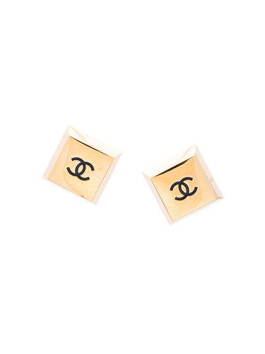 квадратные серьги с логотипом Chanel Vintage