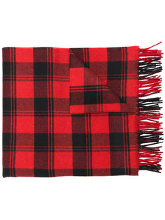 шарф в клетку с бахромой Saint Laurent